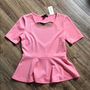 NWT Pink Heart Cut Out Top